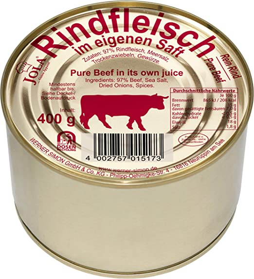 Jola Carne de vacuno en su propio jugo, 97% pura Beef, 6 latas de 400 g