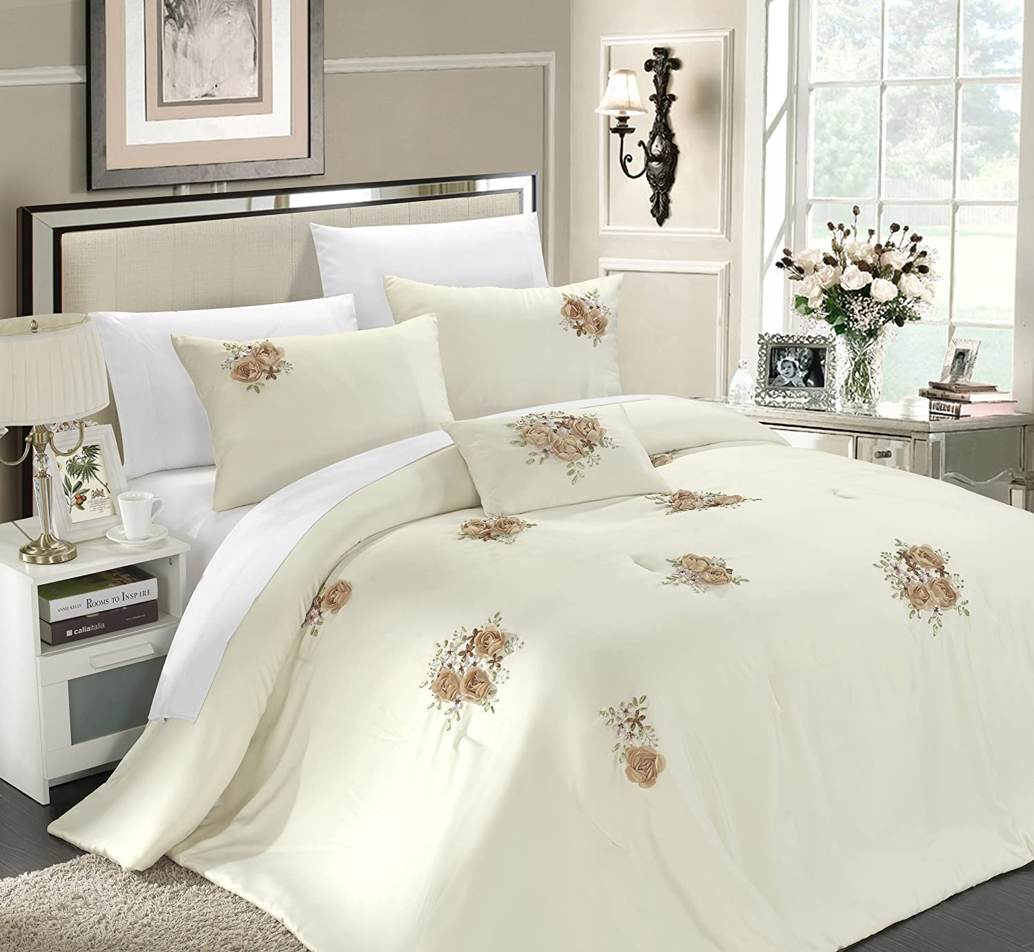 Amazon.com: Chic Home Rosetta 5-Piece Comforter Set, Queen, Beige ...