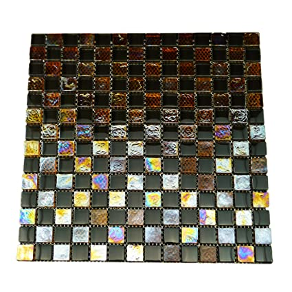 fa683f757 URBN Contemporary Orange and Black Chessboard Design Iridescent Glass  Mosaic Tile in 3/8 Inch