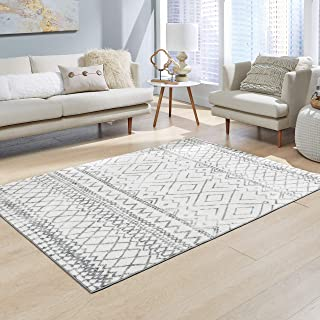 product image for Maples Rugs Abstract Diamond Modern Distressed Area Rugs Carpet for Living Room & Bedroom [Made in USA], 5 x 7, Neutral