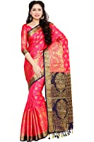 Mimosa By Kupinda Art Silk Saree Kanjivaram Style Color: Strawberry (4051-241-2D-STRW-NVY)