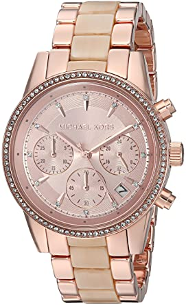 a311808e96b9 Image Unavailable. Image not available for. Colour  Michael Kors Ritz  Analog Gold Dial Women s Watch-MK6493