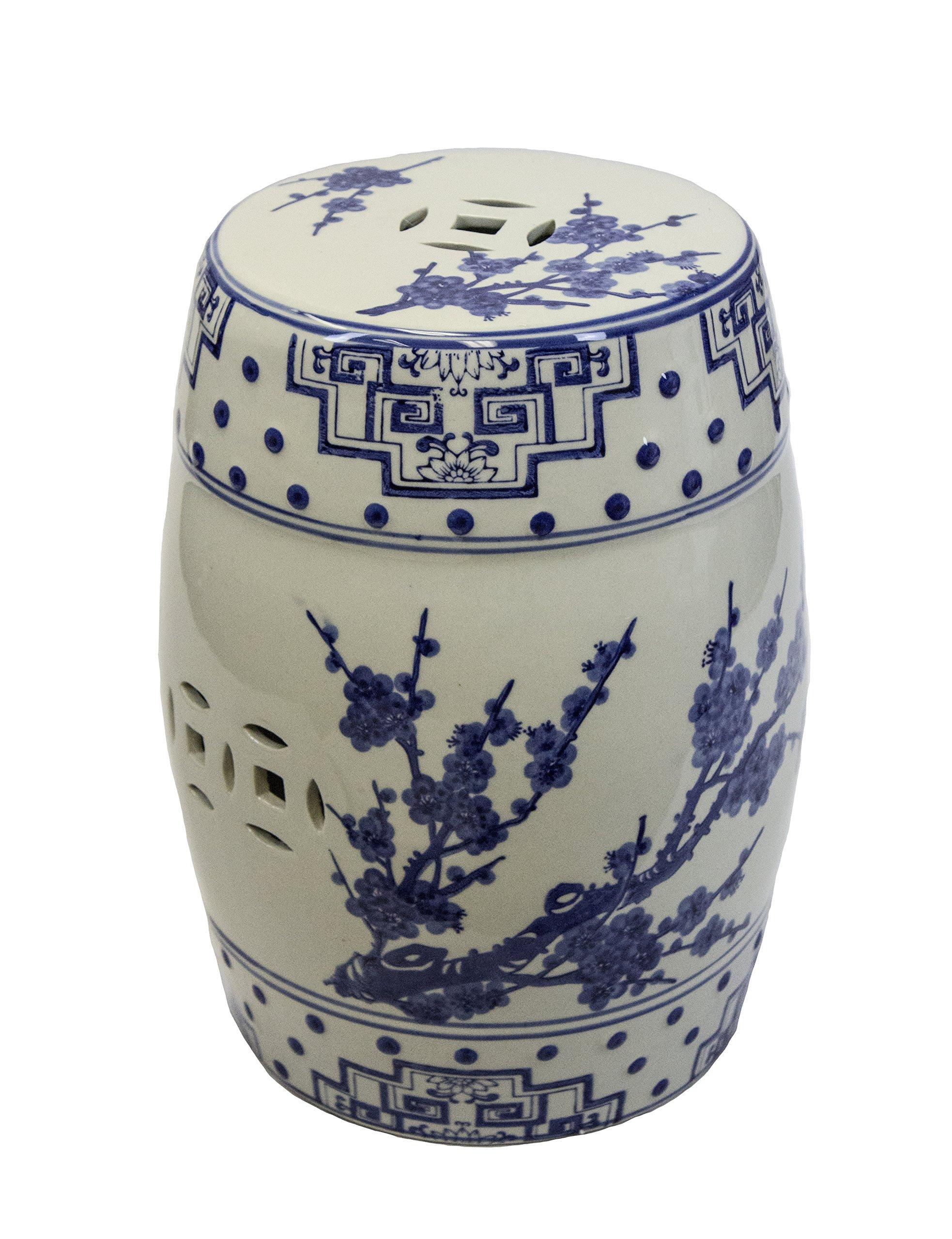 Sagebrook Home FC10455-01 Cherry Blossom Garden Stool, Blue/White Ceramic, 12.75 x 12.75 x 17.5 Inches