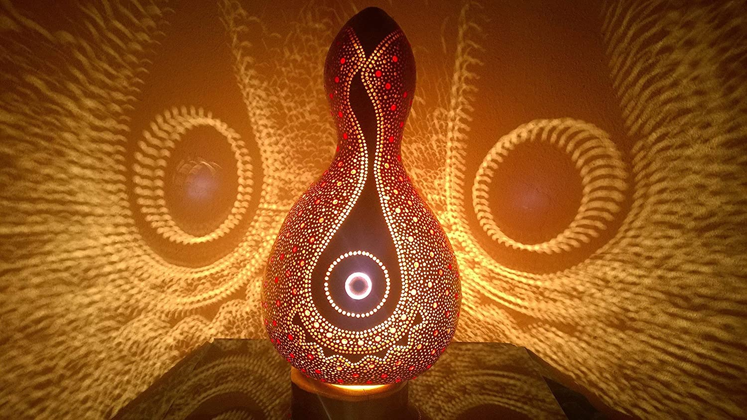 The Felicity Red Beadwork Gourd Lamp Night Light Unique Birthday Anniversary Gift Idea Bedroom Living Room Home Decor