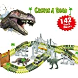 INNÔPLUS Dinosaur Toys Race Track Car Sets, Create a Road in Jurassic Dino World, 142 pcs Flexible Tracks with Battery-operated Car Playset and 2 Dinosaurs