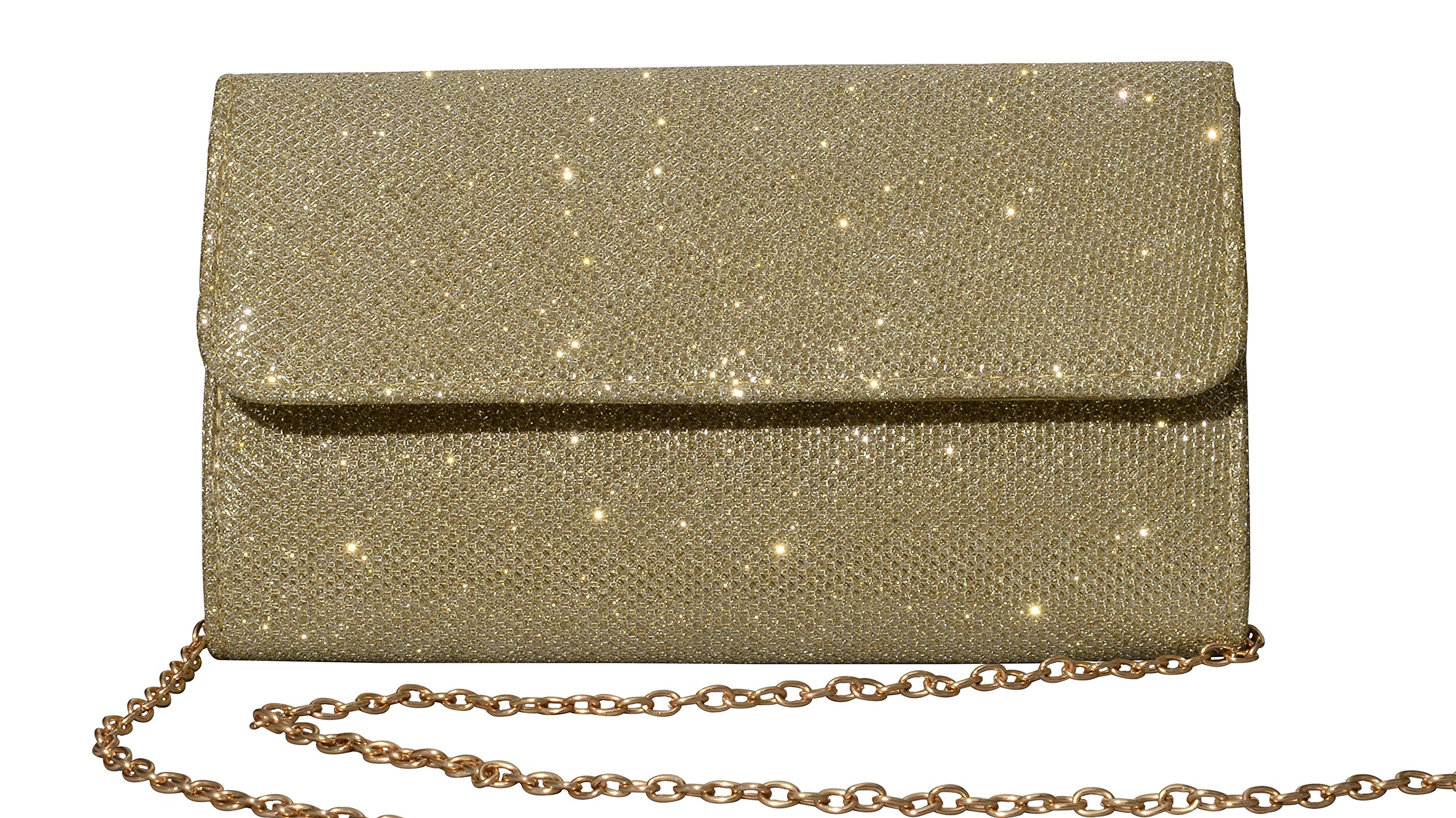 Outrip Women's Evening Bag Clutch Purse Glitter Party Wedding Handbag with Chain (Gold)