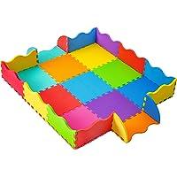Mycors Tapete Alfombra Multicolor de Espuma Foami con Barrera para Ninos, Ninas y Bebes (9pzs Base y 16pzs Barrera)