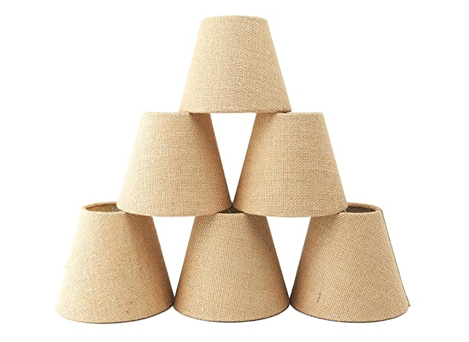 Natural Burlap Chandelier Shades Set Of 6 Warm Drum Shaped Hardback Clip On Ceiling Lamp
