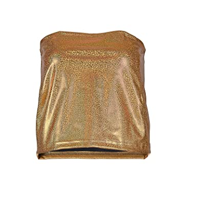 8875287d5bd79 One Size Fits 12-16 Wash on A Cool Cycle Spandex and Polyester Strech Fit  with Metallic Hollographic Shiny Finish (Gold Strapless Top)  ...