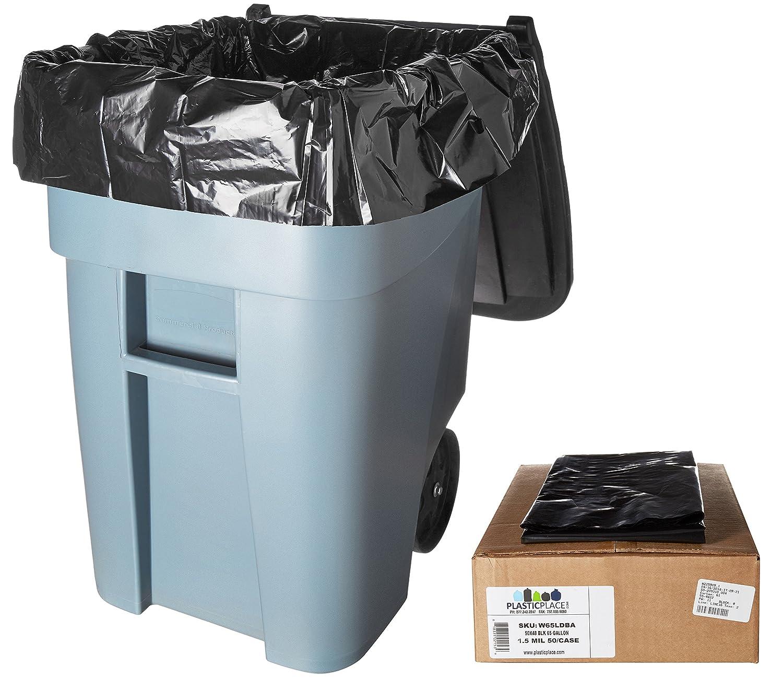 Clear 65 Gallon Trash Bags, 50 Bags Per Case Plasticplace 504815C