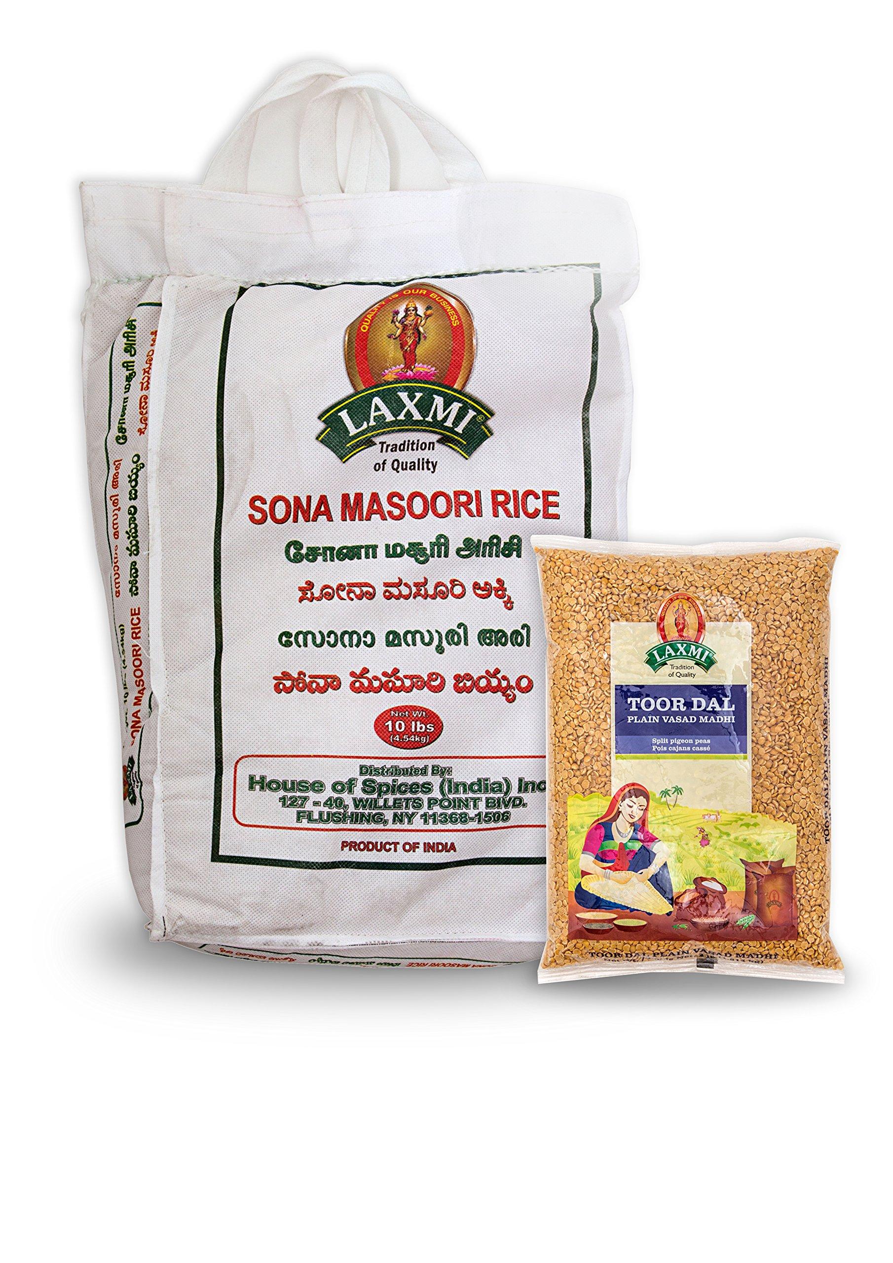Laxmi Sona Masoori Rice & Laxmi Toor Dal Bundle - (10lb Rice and 4lb Dal)