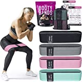Vergali Fabric Booty Bands for Women Butt and Legs. Set of 4 Non Slip Cloth Resistance Working Out Band for Glute, Thigh, Squ