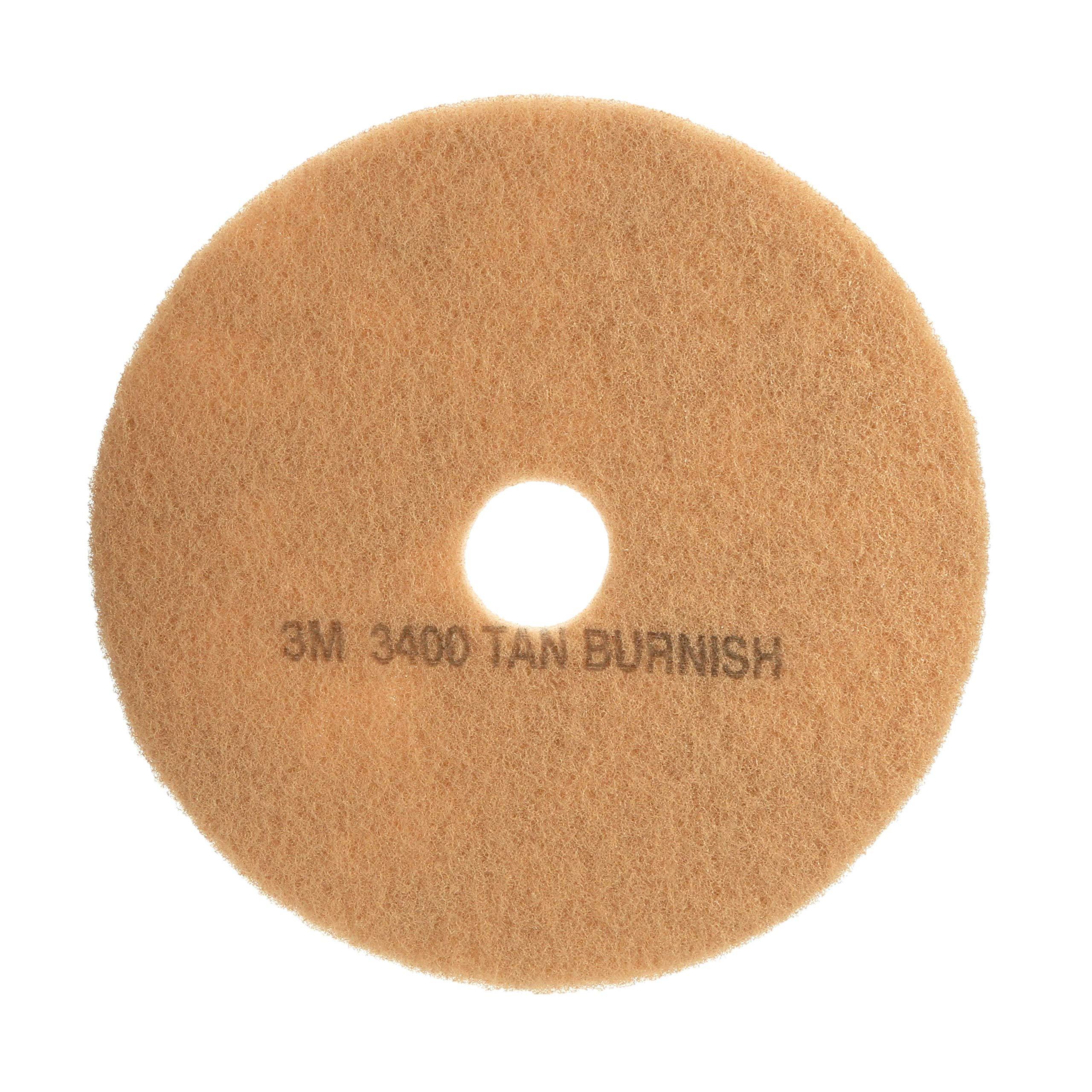 3M Tan Burnish Pad 3400, 20'' Floor Care Pad (Case of 5) by 3M