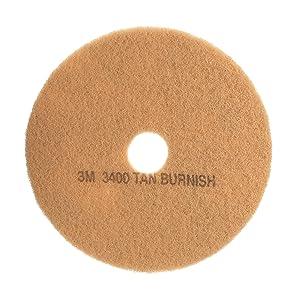 """3M Tan Burnish Pad 3400, 20"""" Floor Care Pad (Case of 5)"""