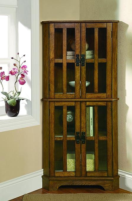 Coaster Home Furnishings 4 Shelf Corner Curio Cabinet Golden Brown