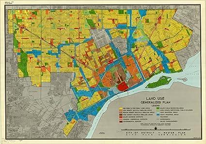 Amazon.com: Historic Map | Detroit, Michigan 1950 | Land use ... on