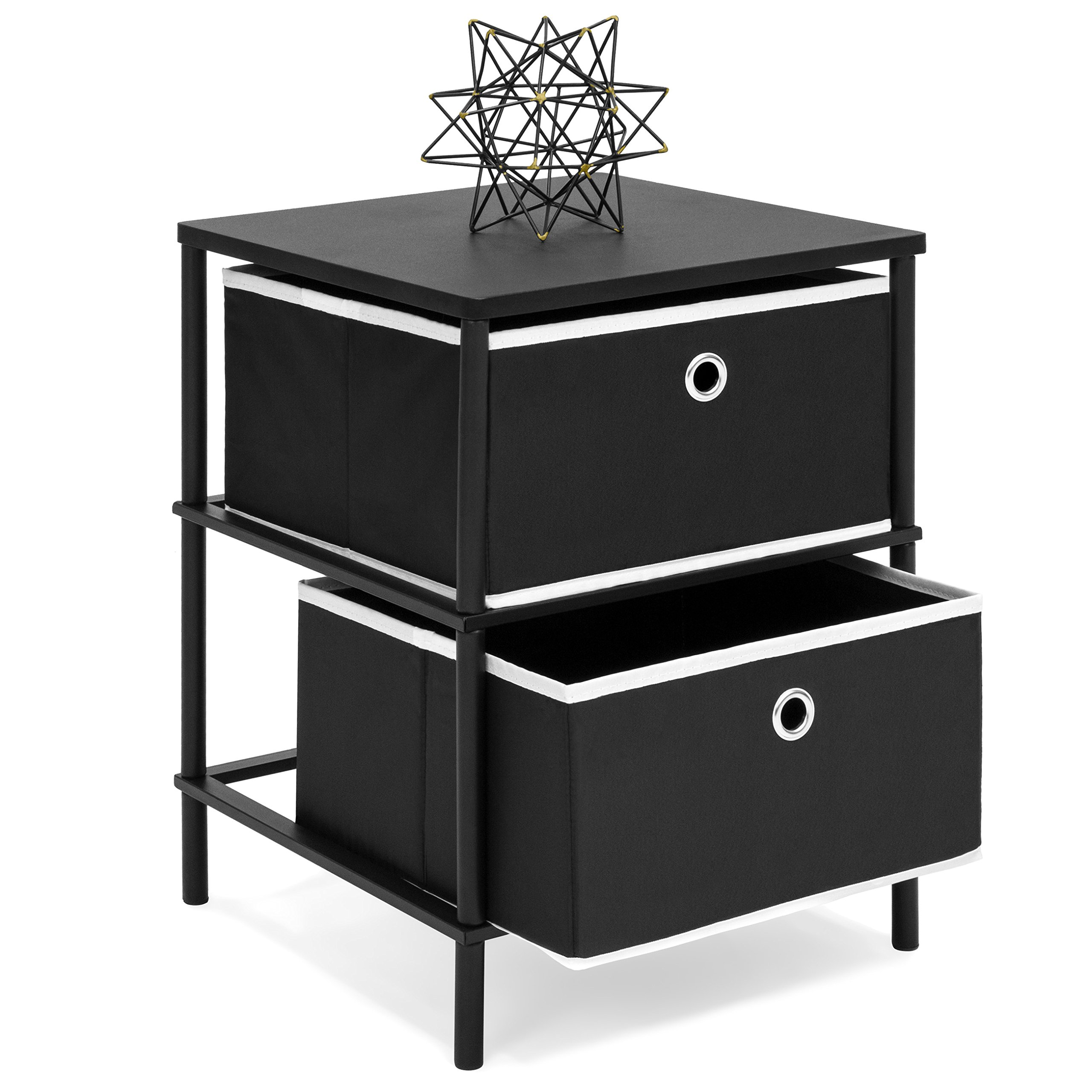 Best Choice Products Bedroom Nightstand End Side Table with 2 Storage Drawers, Black