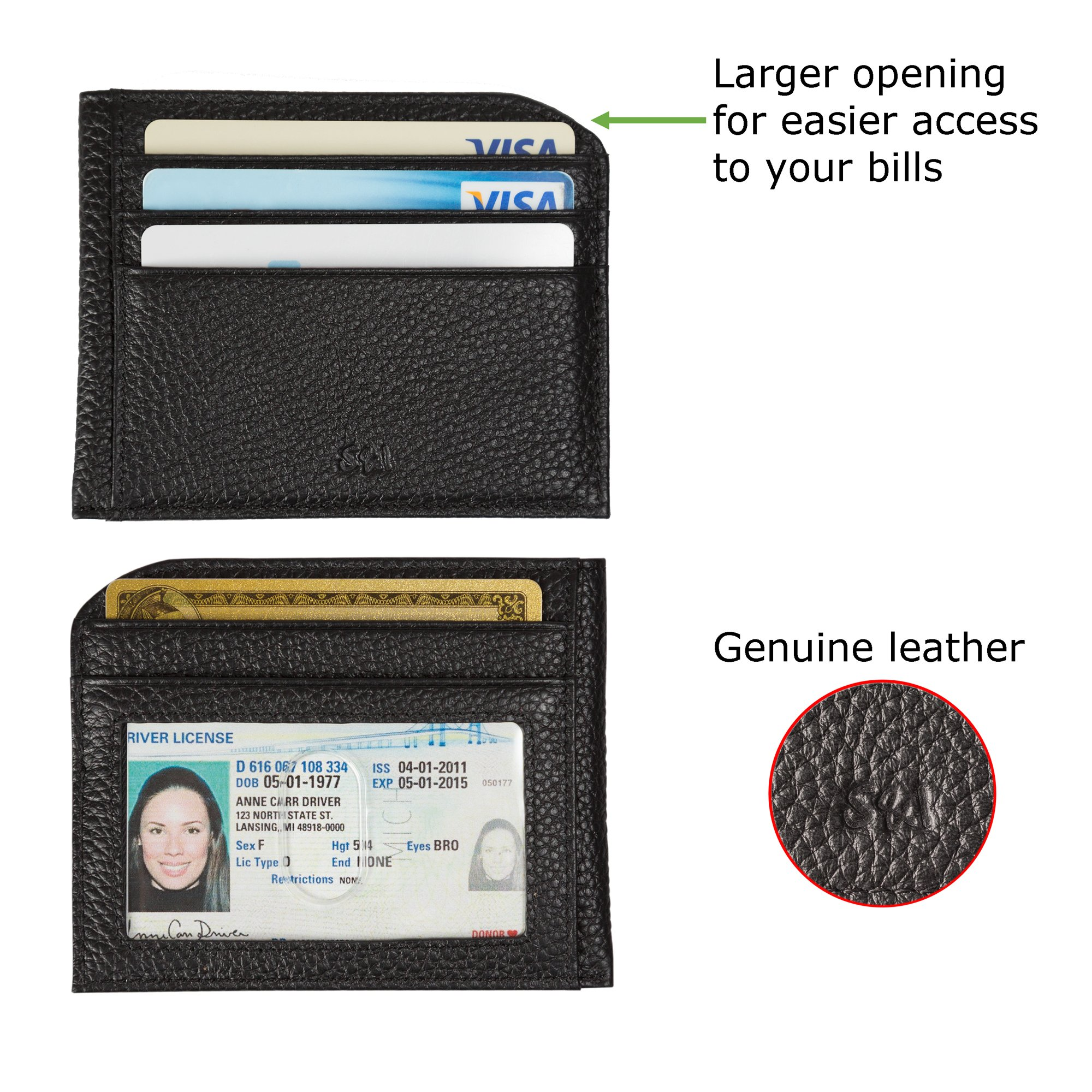 Slim Front Pocket Credit Card Wallet with ID Window and Key-Ring Set – Minimalist Genuine Leather RFID Blocking - by S&I Fine Goods,Black,Small by S&I Fine Goods (Image #2)