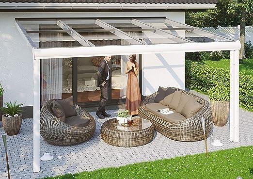 Skan Holz Terrassenüberdachung 434 x 257 cm, Aluminium, weiß Cubierta para terraza Modena, Aluminio, Color Blanco: Amazon.es: Jardín