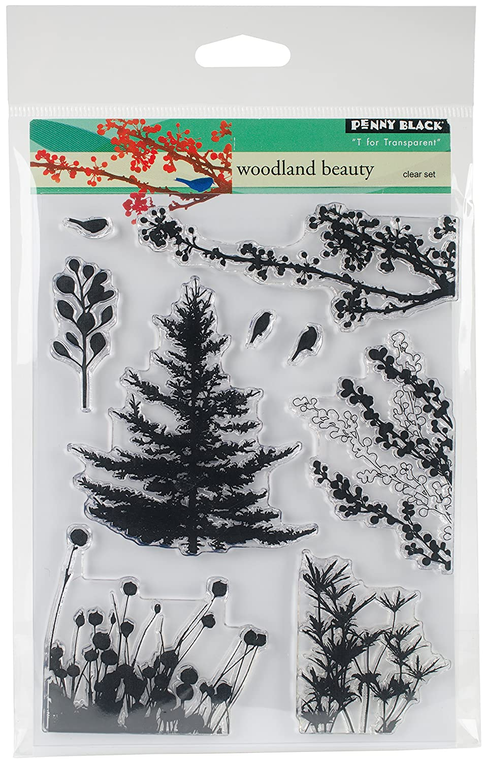 Penny Black 30-379 Clear Set Clear Stamp Set, 30-379,Woodland Beauty Penny Black Inc