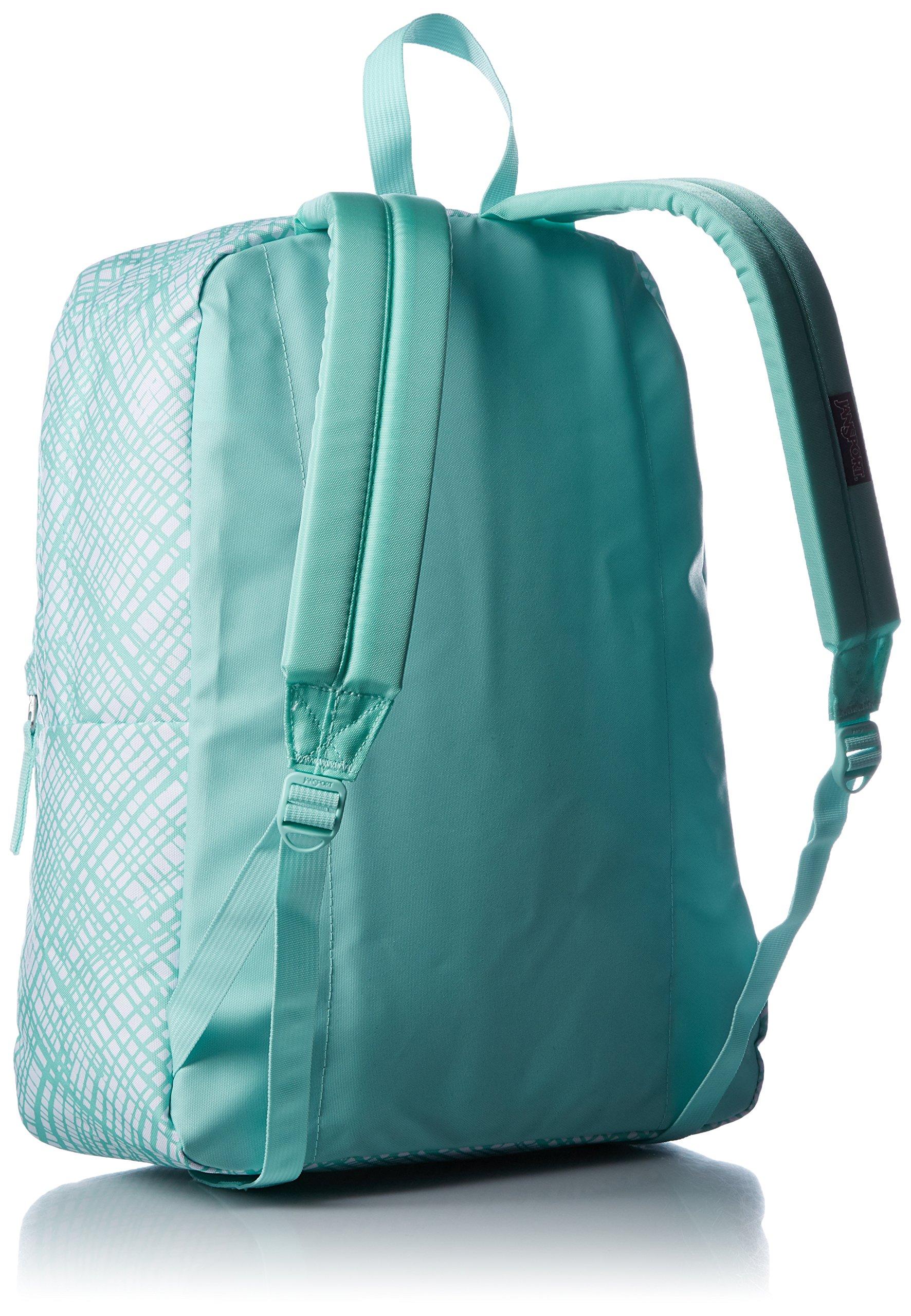 JanSport Womens Classic Mainstream Superbreak Backpack - Aqua Dash Jagged Plaid / 16.7'' H X 13'' W X 8.5'' D by JanSport (Image #2)