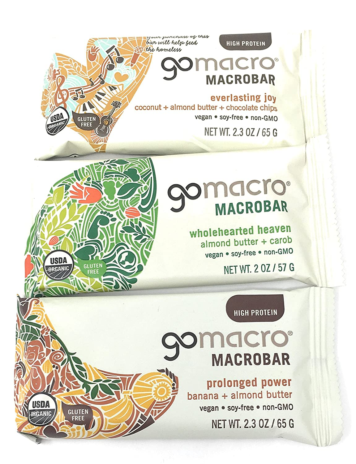 Gomacro Macrobar Almond Butter Bundle Of 12 Bars 4 Bars Each Of Coconutalmond Butter Choc Chips