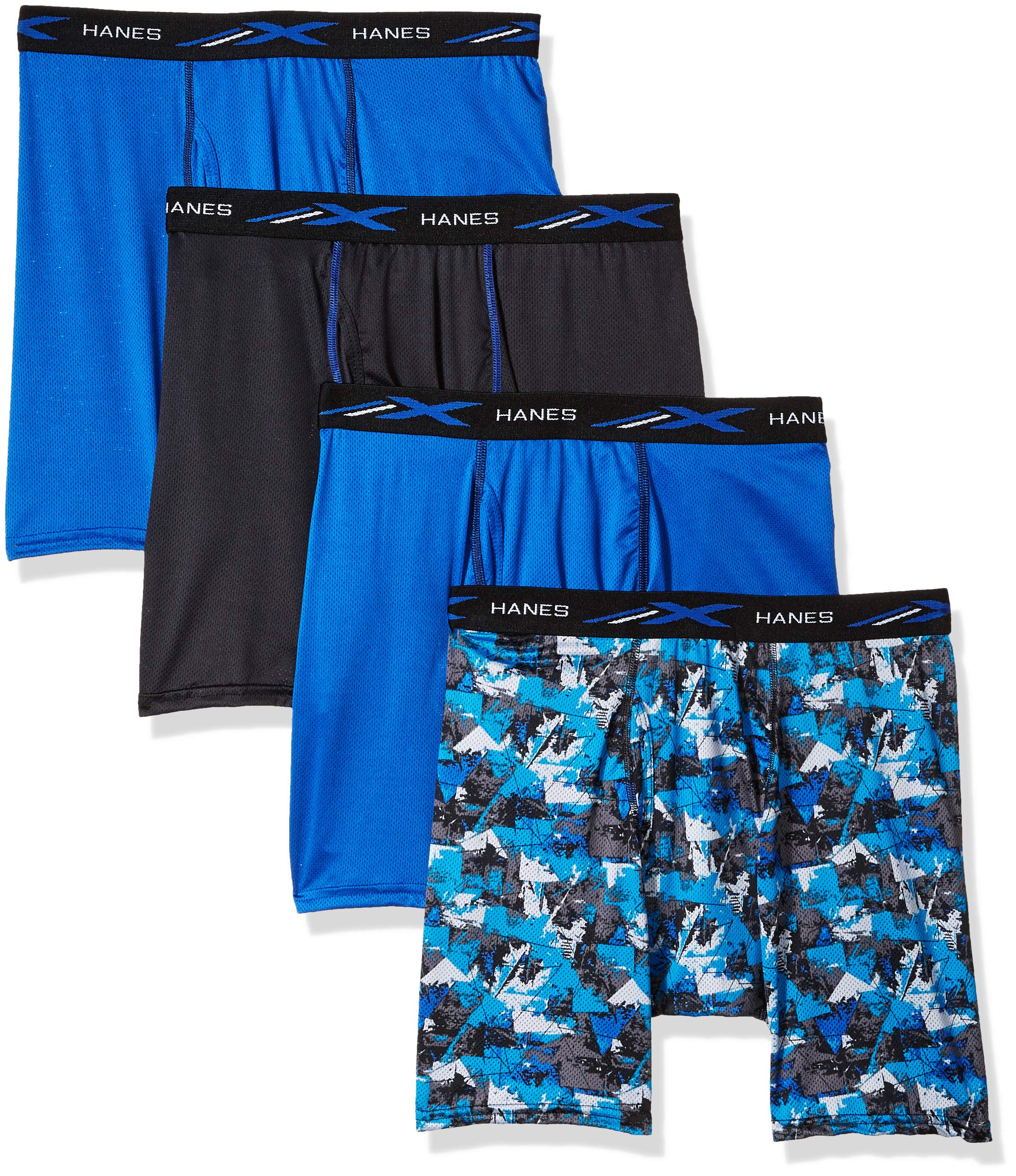 Hanes Men's X-Temp 4-Way Stretch Mesh Boxer Brief 4-Pack, Dark Assorted, Large by Hanes