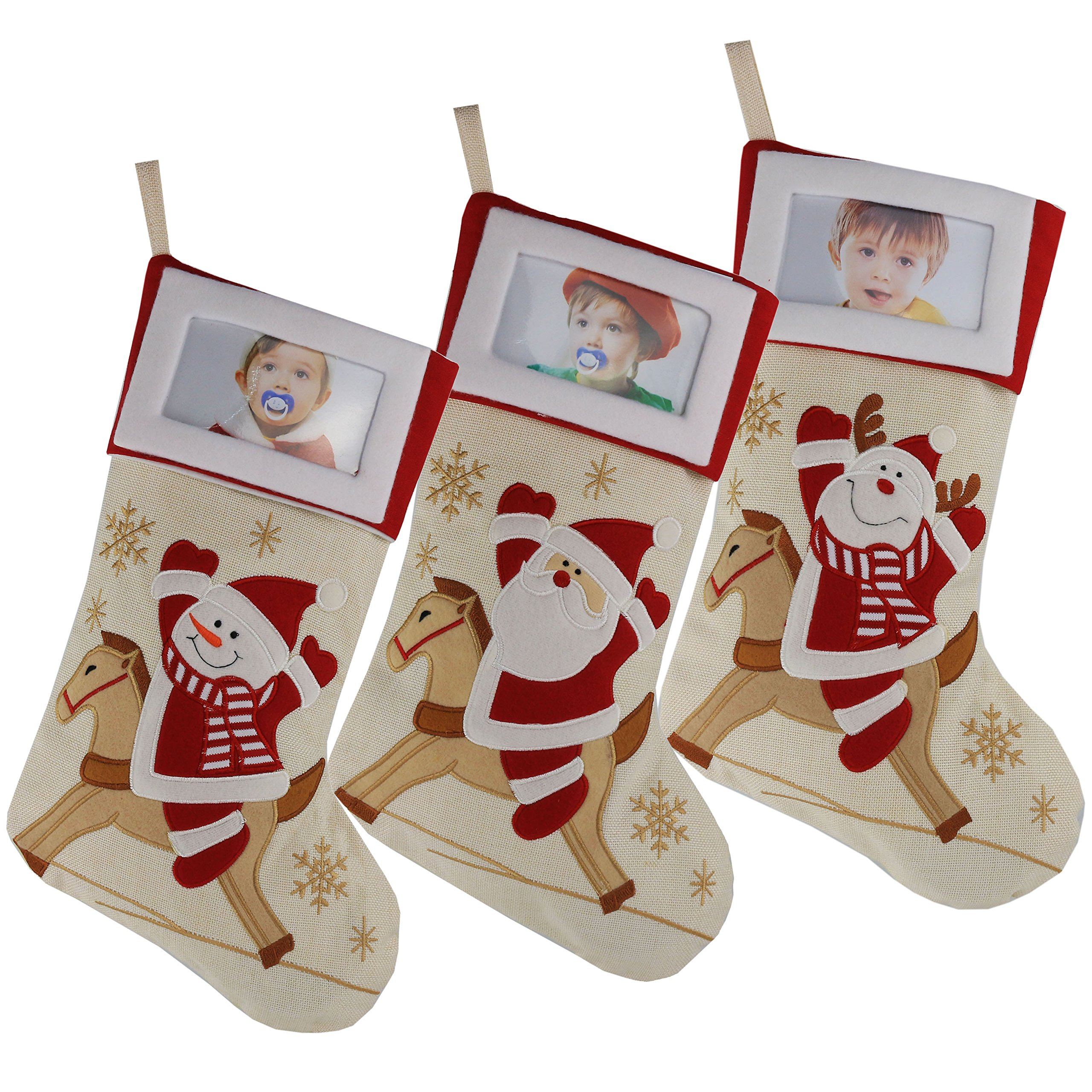 WEWILL Creative Christamas Stockings with Photo Frame Holder, Featuring Reindeer Snowman Santa,Red,Large, 16 Inch, Set of 3(5) by WEWILL