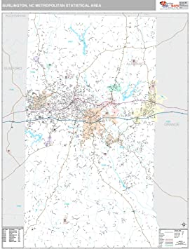 Burlington Nc Zip Code Map.Marketmaps Burlington Nc Metro Area Wall Map 2018 Zip Codes