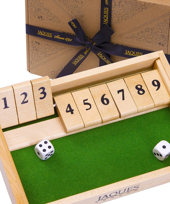 Jaques of London 9s Shut The Box Dice Game - Juguetes Educativos 3 4 5 6 años y Grandes Juegos de Mesa Familiares - Juguetes de Madera y Juegos Educativos para Niños Desde 1795