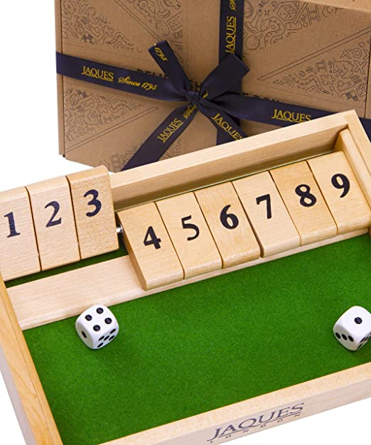 Jaques of London 9s Shut The Box Dice Game - Juguetes Educativos 3 4 5 6 años y Grandes Juegos de Mesa Familiares - Juguetes de Madera y Juegos Educativos para Niños