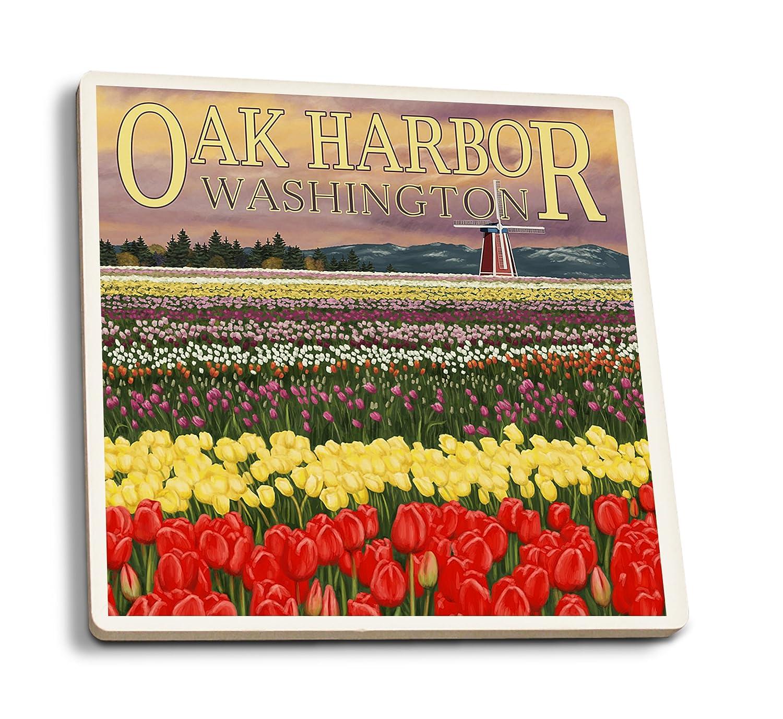 Oak Harbor、ワシントン – チューリップフィールド 4 Coaster Set LANT-42430-CT 4 Coaster Set  B07DD4J9RS