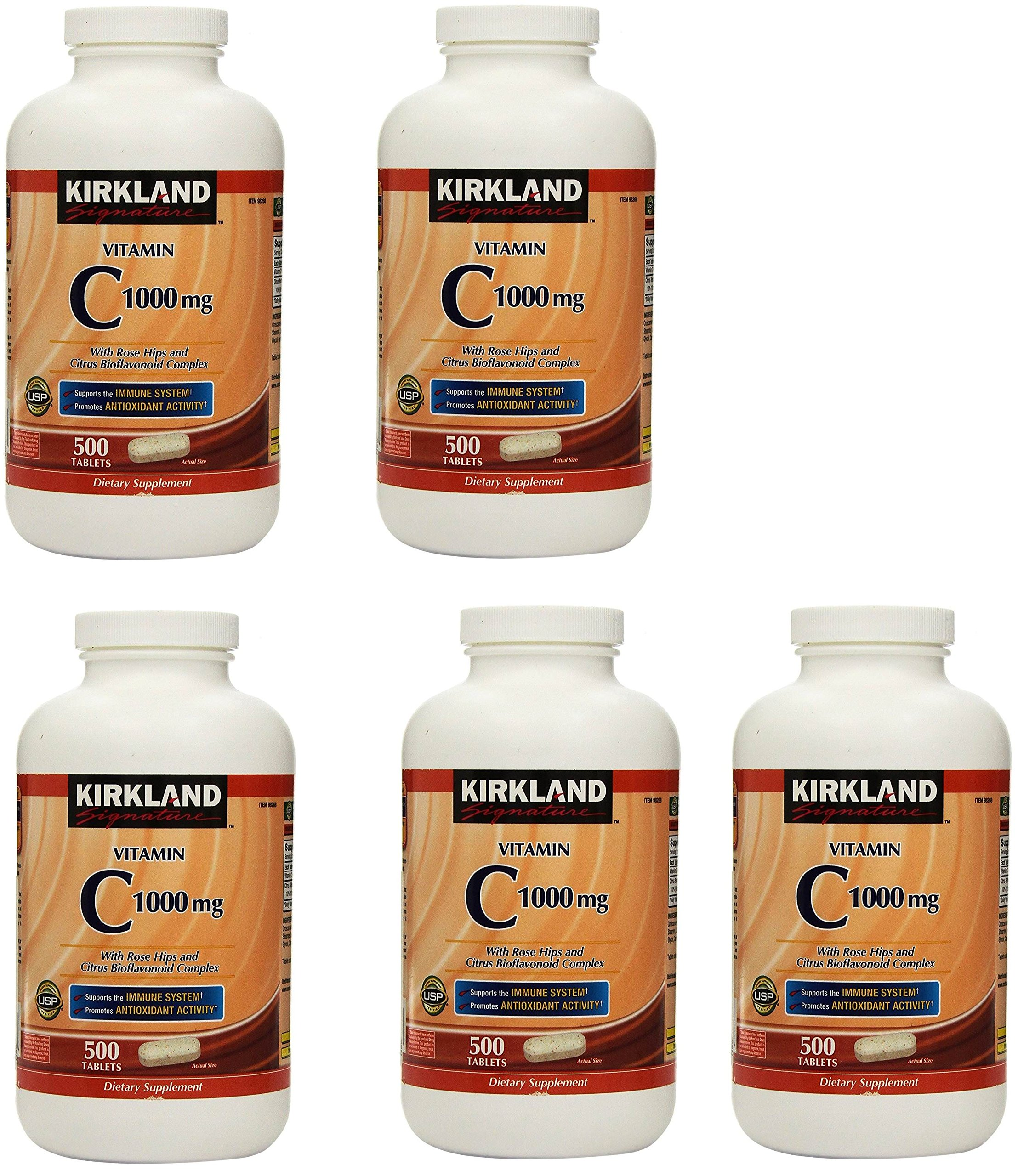 Kirkland Vitamin C with Rose Hips and Citrus Bioflavonoid Complex (1000 mg), 5 Bottles (500 Count Tablets)