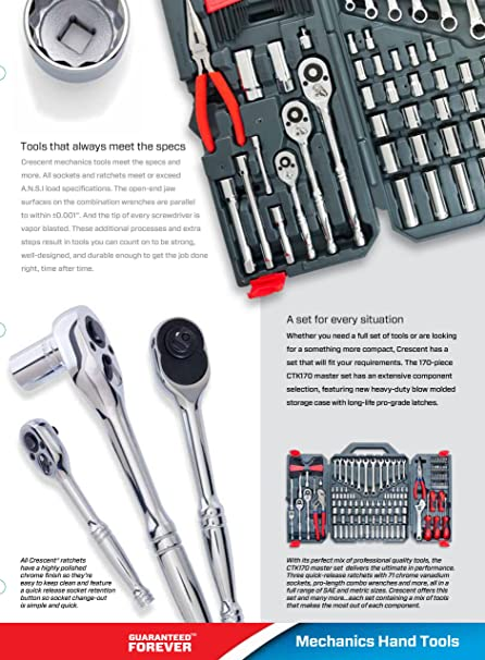 Amazon.com: Crescent CTK170CMP2 Mechanics Tool Set, 170-Piece: Home on