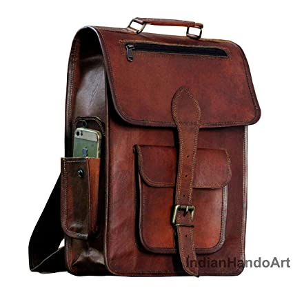 b9f7f8b1e3fd Image Unavailable. Image not available for. Color  16 quot  Vintage Leather  Backpack Laptop Messenger Bag Lightweight School College ...