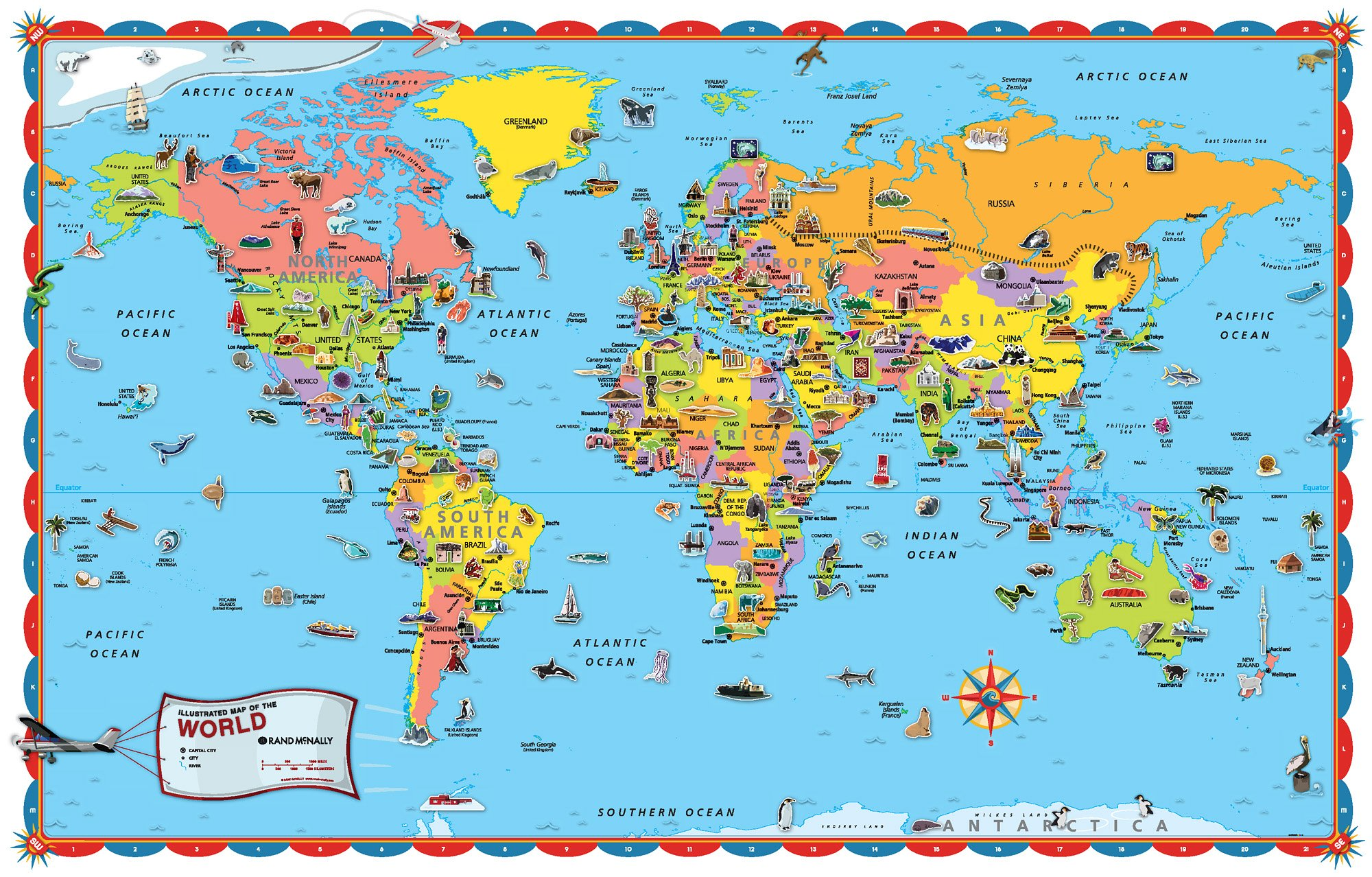 Amazoncom wall pops wpe0624 kids world dry erase map decal wall rand mcnally world map rand mcnally and company kids world map poster gumiabroncs Images