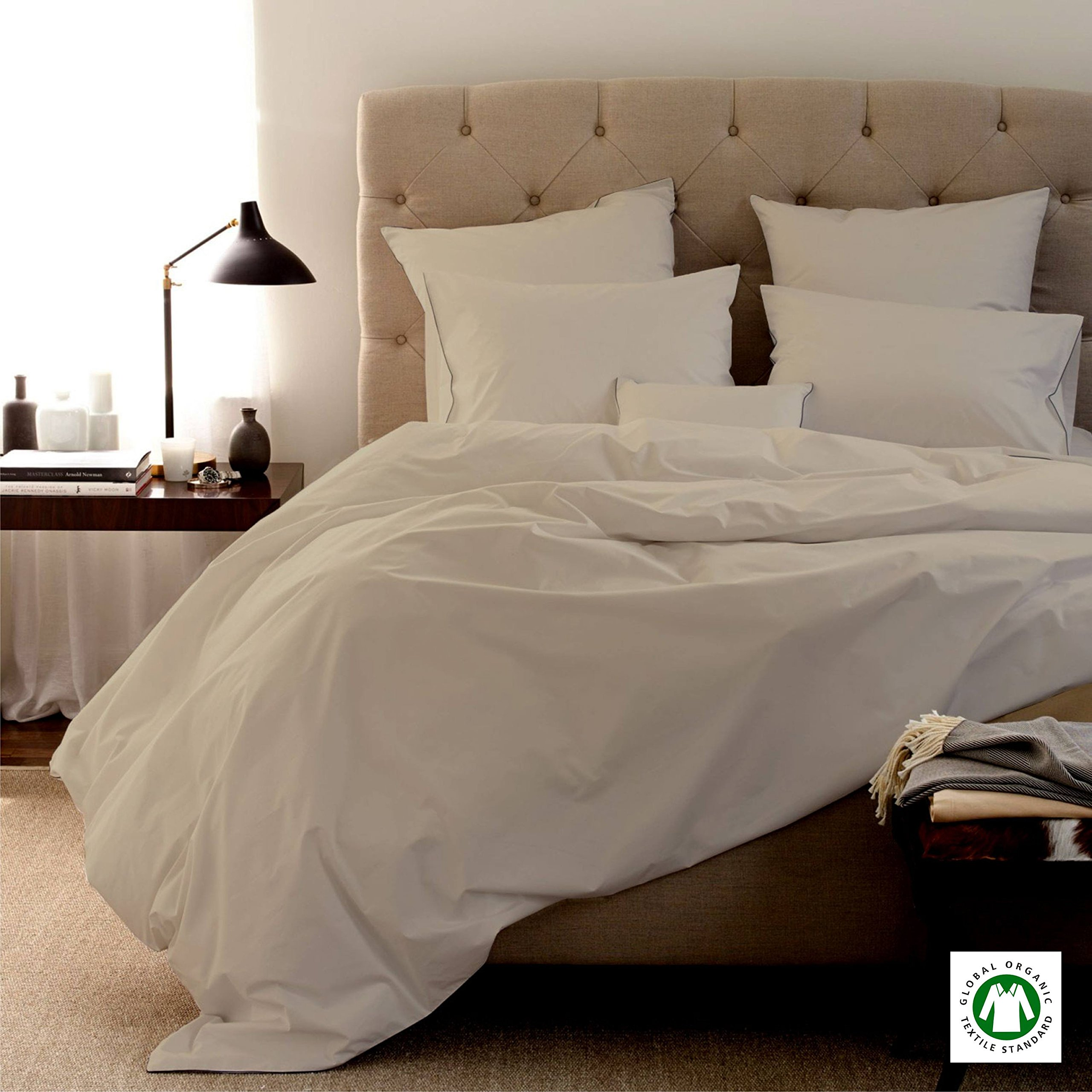 Organic Bed Sheets-Size-QUEEN, Color-IVORY sheets are comfortable and ultra-soft & silky# Made in India 800 Thread Count - 100% Organic Cotton 4pc Bed Sheet Set With 19'' DEEP POCKET