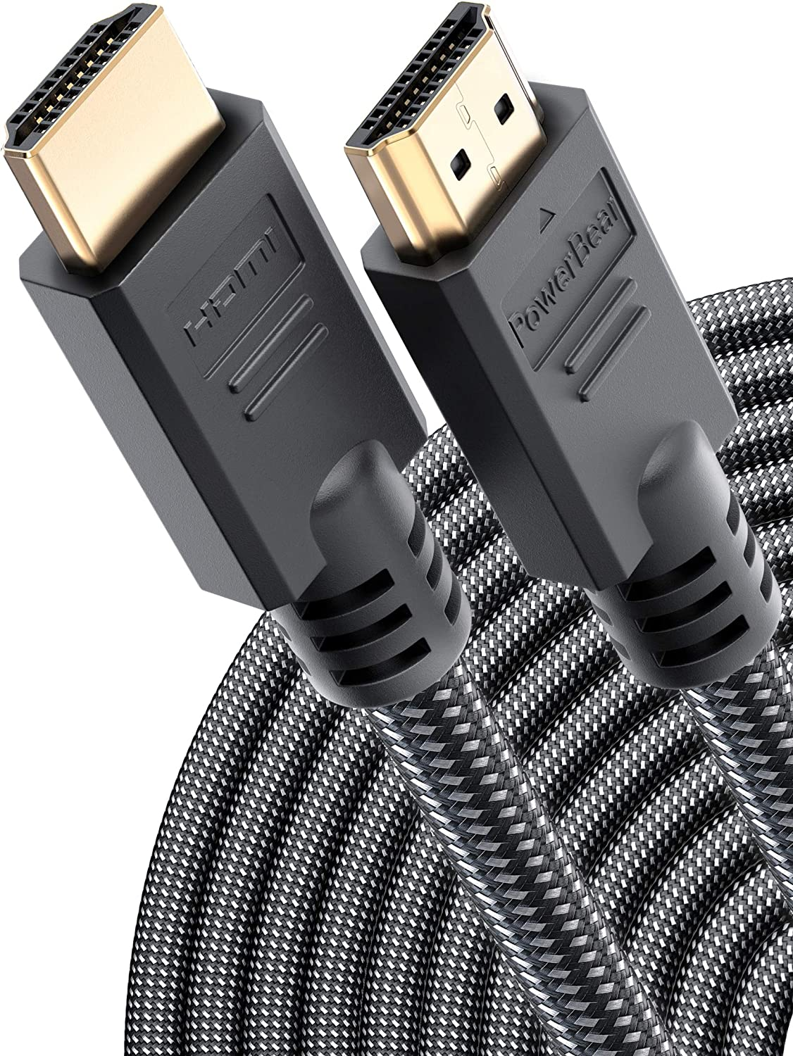 PowerBear 4K HDMI Cable 50 ft   High Speed, Braided Nylon & Gold Connectors, 4K @ 60Hz, Ultra HD, 2K, 1080P, Dolby & ARC Compatible   for Laptop, Monitor, PS5, PS4, Xbox One, Fire TV, Apple TV & More