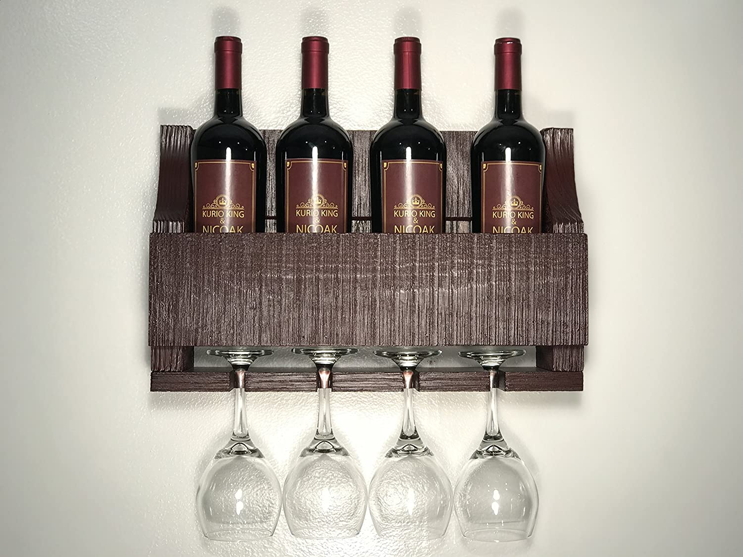 Empire USA - Barnwood Wall Mount Wine Rack holds 4 Wines and 4 Long Stem Glass Rustic Reclaimed Wood (Oceanside Blue)