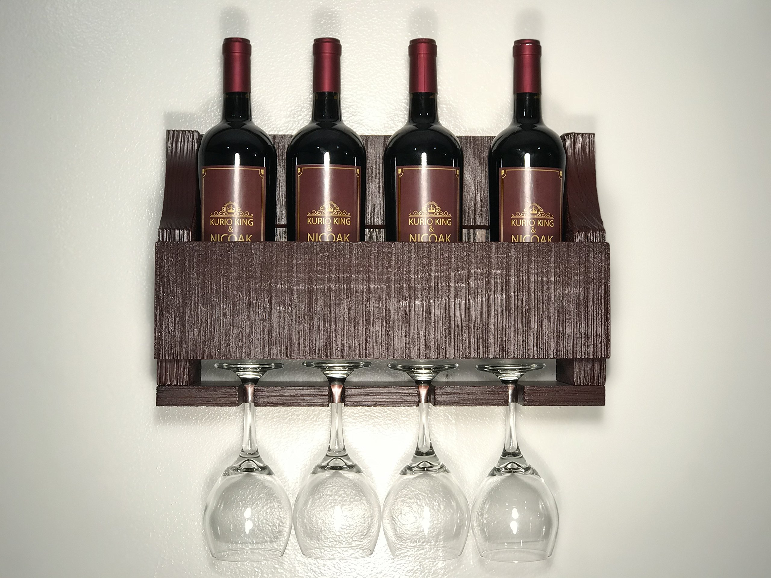 Empire USA - Barnwood Wall Mount Wine Rack holds 4 Wines and 4 Long Stem Glass Rustic Reclaimed Wood (Aged Barn Red)