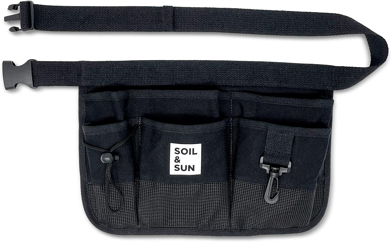 Soil and Sun Canvas Gardening Tool Belt – Comfortable and User-Friendly – Durable and Multifunctional Design (Black)