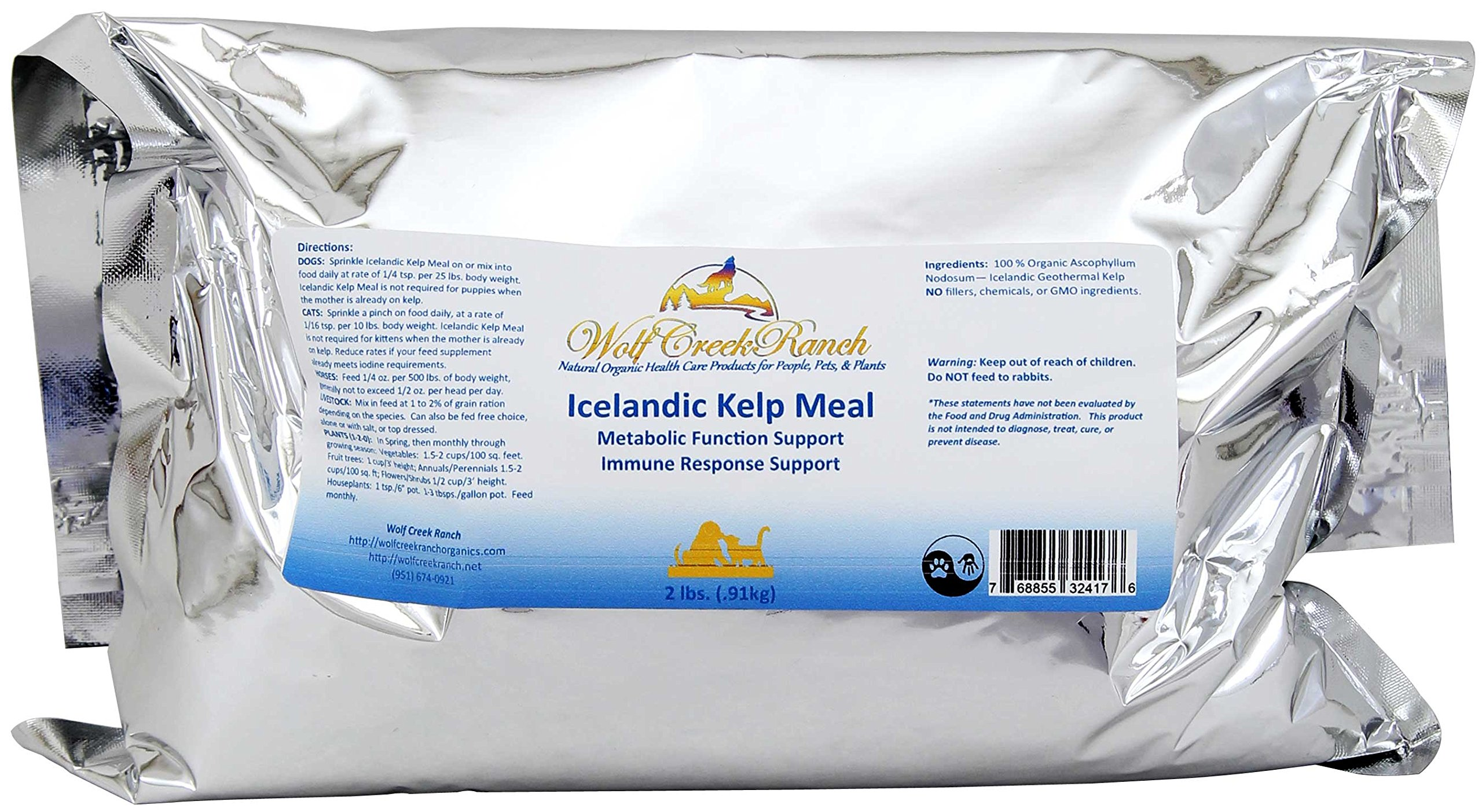 Wolf Creek Ranch Icelandic Kelp Meal - Loaded with Nutrients That Support Your Livestock Or Pet & A Natural Seaweed Fertilizer for Plants Icelandic Kelp Meal, 2lbs