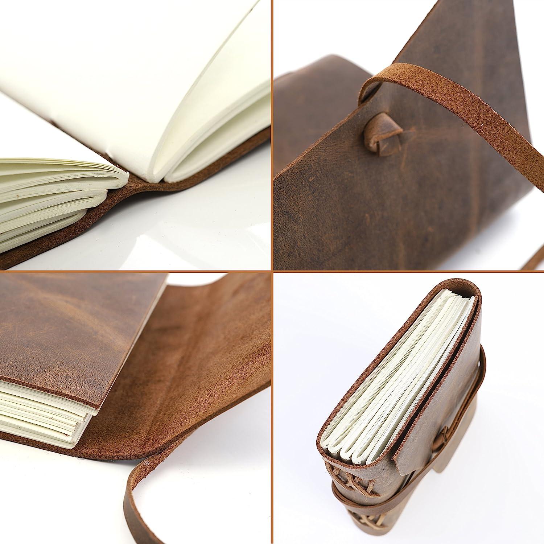 moonster Carnet de Note en Cuir Bloc Note avec Papier 18x13cm comme Journal Intime ou Cahier de Dessin Carnet Secret Fait Main pour Hommes et Femmes