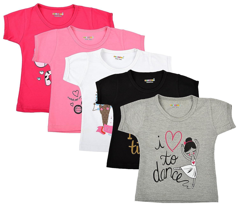 Kuchipoo Girl's Cotton Regular Fit T-Shirt - Pack of 5
