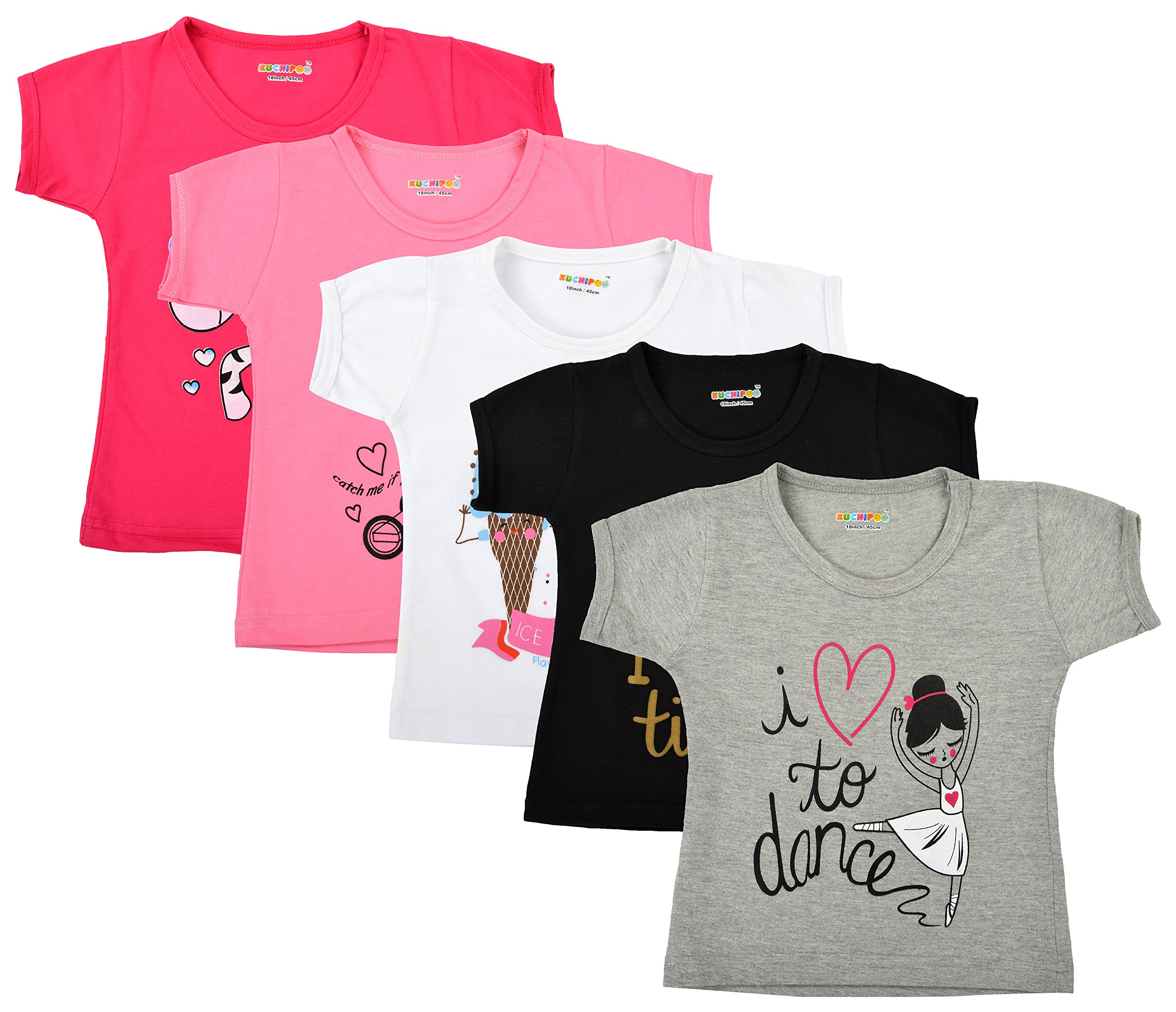 Kuchipoo Girl's Cotton Regular Fit T-Shirt - Pack of 5 product image