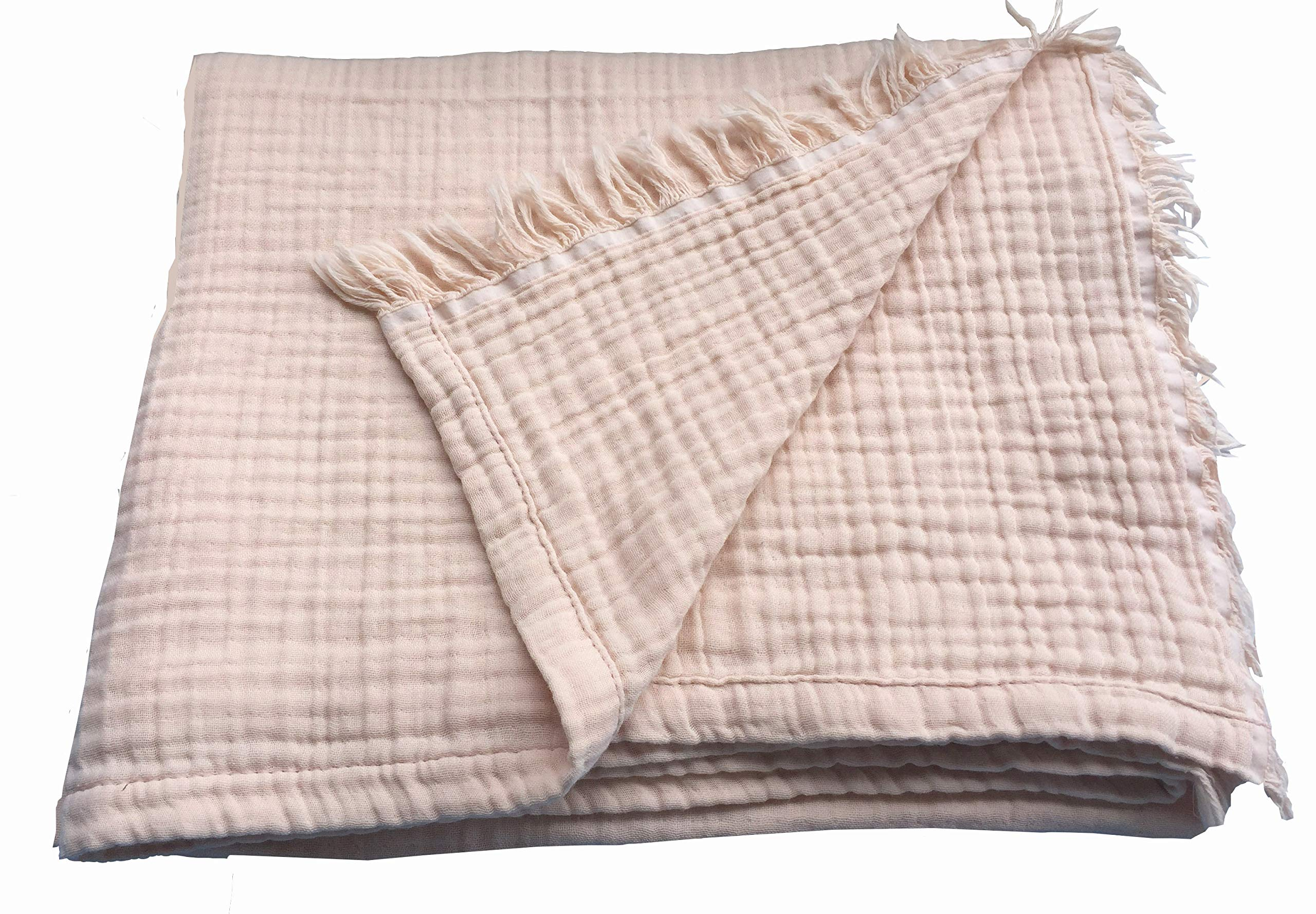 Pre-Washed 100% Cotton Muslin Throw Blanket with Fringe, 50''x70'', Perfect for Bed, Sofa, Reading, Watching TV, Napping, Picnics, at the Beach, Breathable 100% Cotton Muslin, Oeko-Tex Certified (Pink)