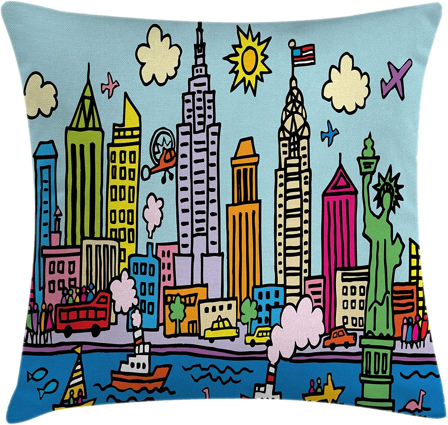 Amazon Com Ambesonne Playroom Throw Pillow Cushion Cover New York City In Cartoon Style Colorful Childlike Drawing Kids Room Nursery Print Decorative Square Accent Pillow Case 16 X 16 Pale Blue Home