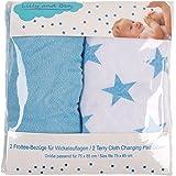 Housse pour matelas et table à langer 2x - Tissu coton éponge - duveteuse épais absorbant - bébé garçon lot bleu uni étoile-s