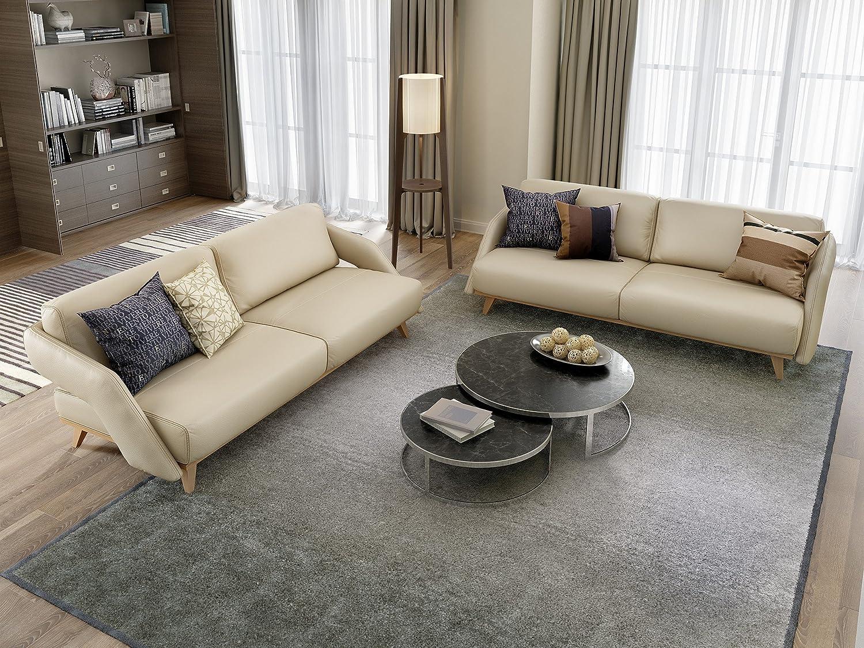 Designer couch holz  Designer Ledersofa Zweisitzer Leder Couchgarnitur Holz Buche ...