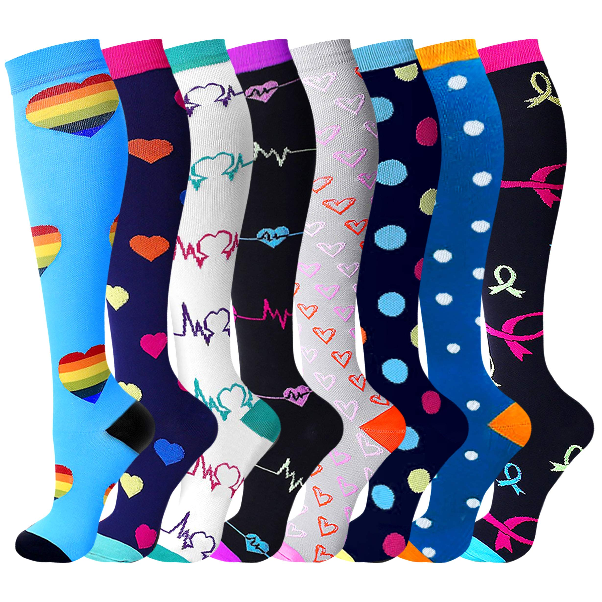 Compression Socks (8 Pairs), 15-20 mmHg is Best Athletic & Medical for Men & Women, Running, Flight, Travel, Nurses, Pregnant - Boost Performance, Blood Circulation & Recovery by WithYou